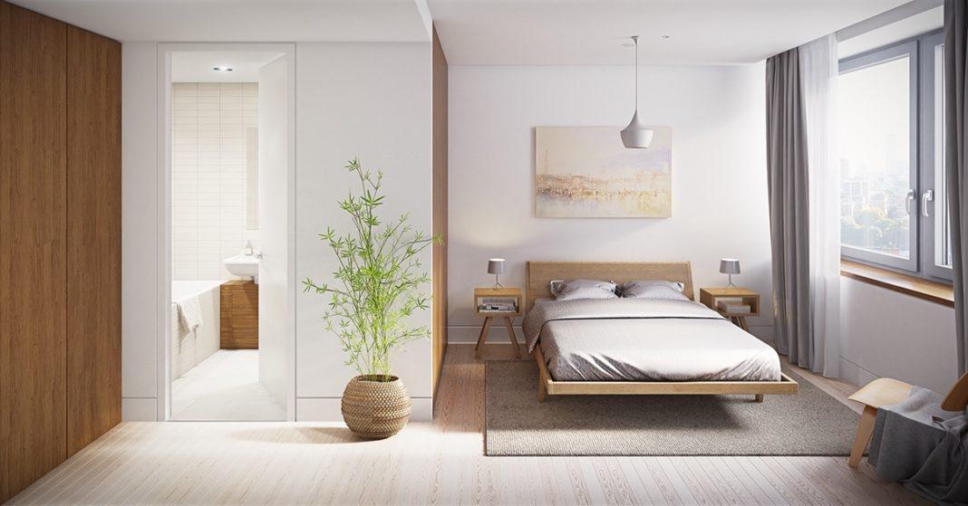 Белый цвет и дерево в спальне