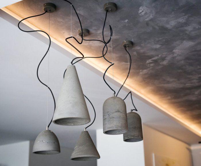 Бетонные светильники в стиле лофт в интерьере