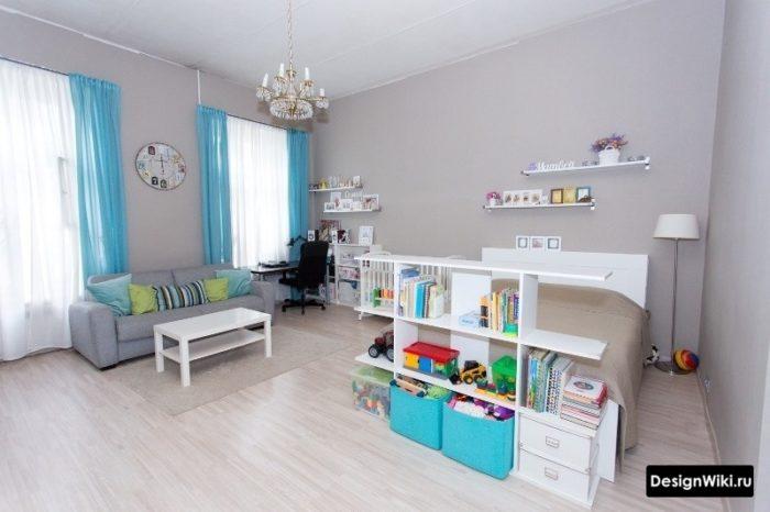 Гостиная спальня и детская в одной комнате