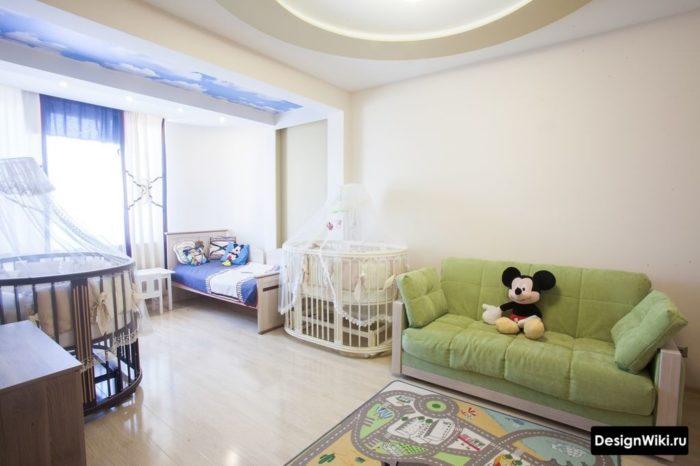 Декор детской спальни-гостиной текстилем
