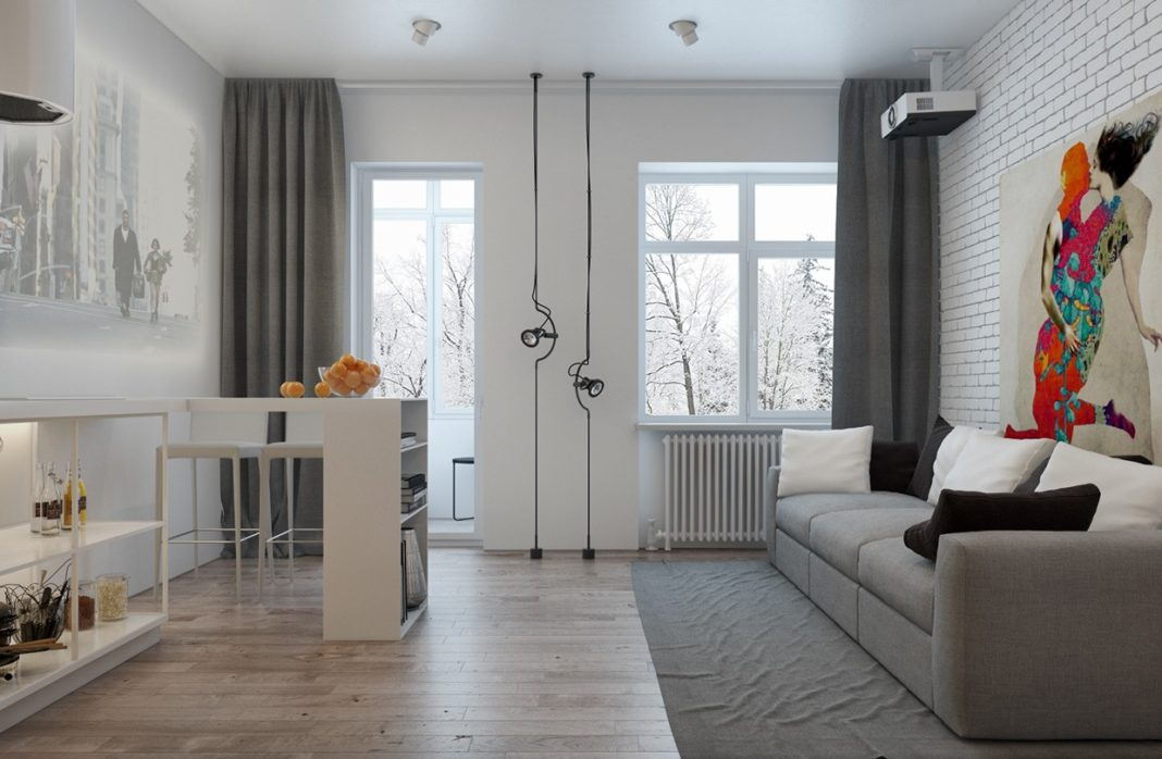 Дизайн кухни-гостиной в стиле современный лофт