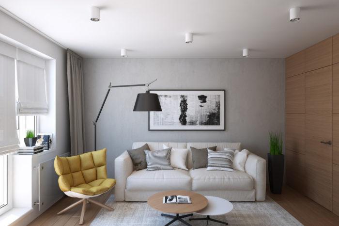 Дизайн маленькой квадратной гостиной