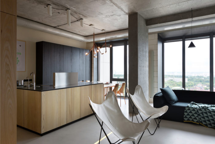 Дизайн потолка из бетона в стиле лофт