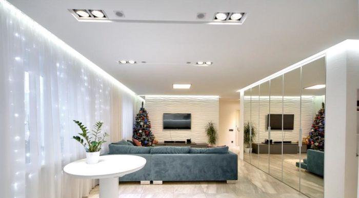 Дизайн потолка из гипсокартона в студии