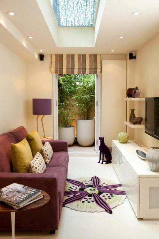 Дизайн узкой маленькой гостиной