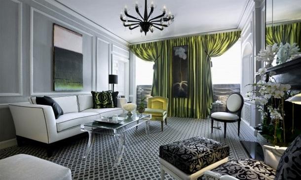 Зелёные шторы в Арт-деко гостиной