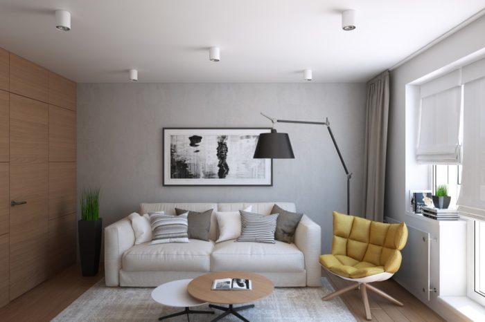 Интерьер современной гостиной 18 кв м