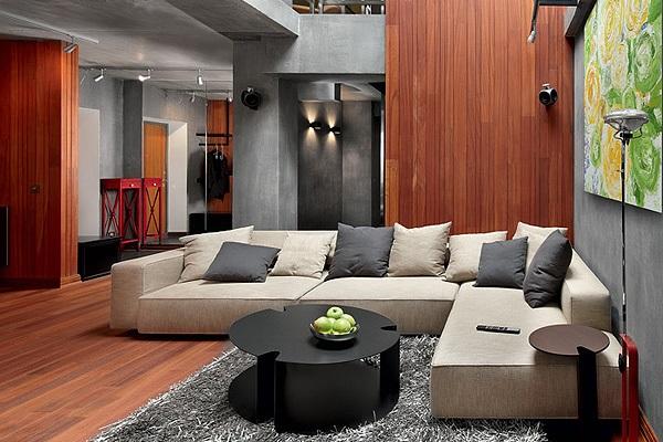 Интерьер с бетоном и красным деревом в стиле конструктивизм