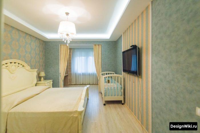 Классическая спальня с детской