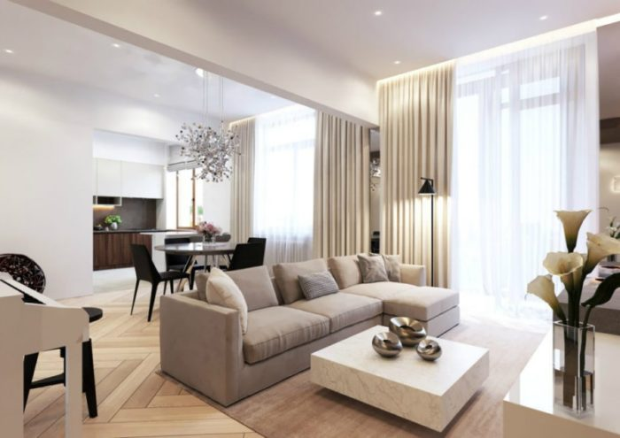 Конструкритивзм в светлой гостиной