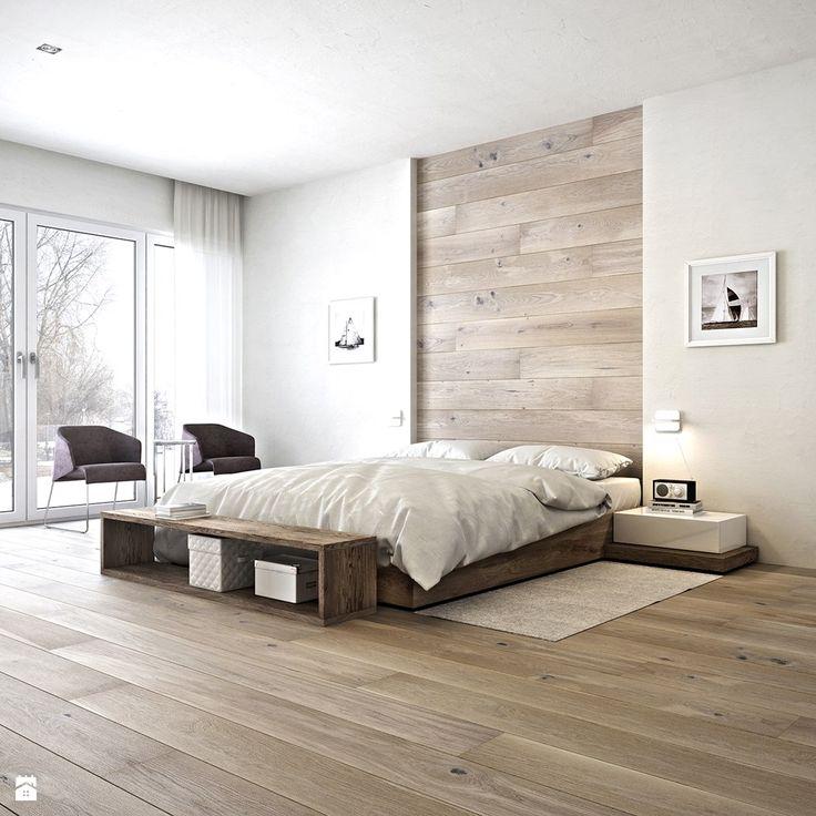 Ламинат на стене и на полу в спальне