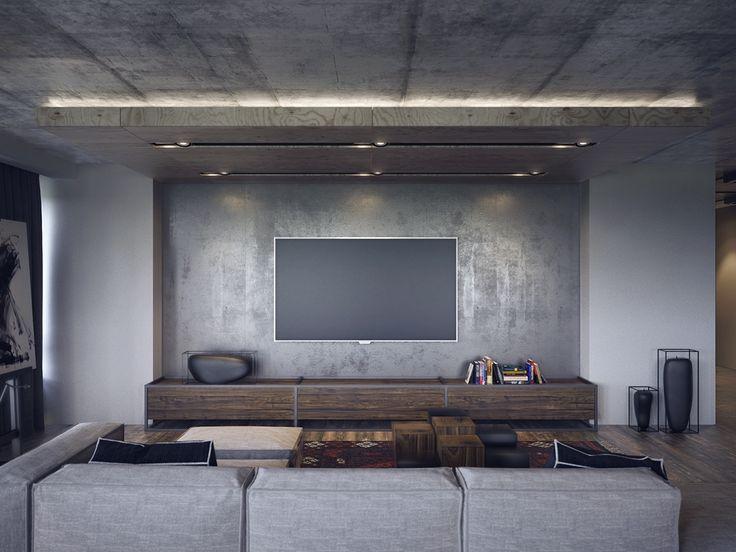 Лофт с бетонным потолком в гостиной
