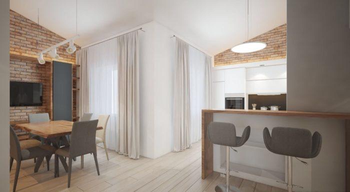 Лёгкий лофт в дизайне кухни гостиной