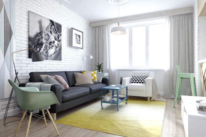 Модный дизайн маленькой гостиной
