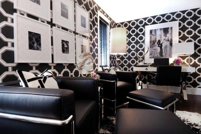 Монохромный интерьер гостиной в стиле арт-деко