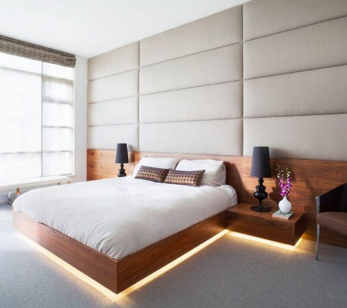 Мягкие стеновые панели в минималистичной спальне