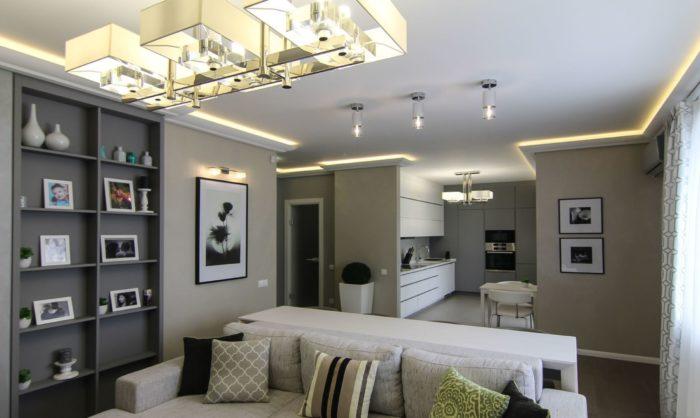 Освещение в дизайне кухни-гостиной