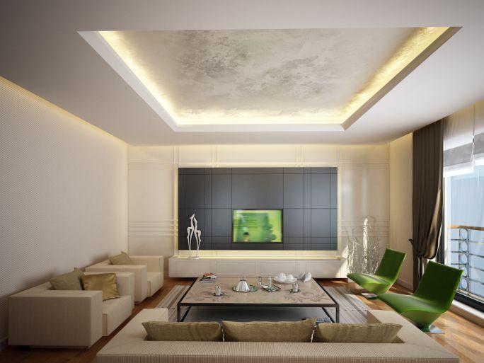 Потолок с декоративной штукатуркой и подсветкой