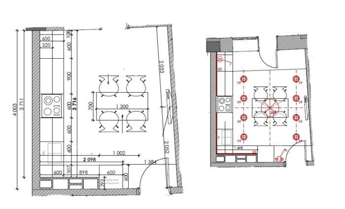 Проект квадратной кухни с размерами