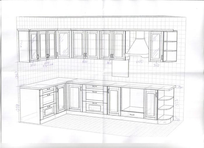 Проект кухни с размерами мебели