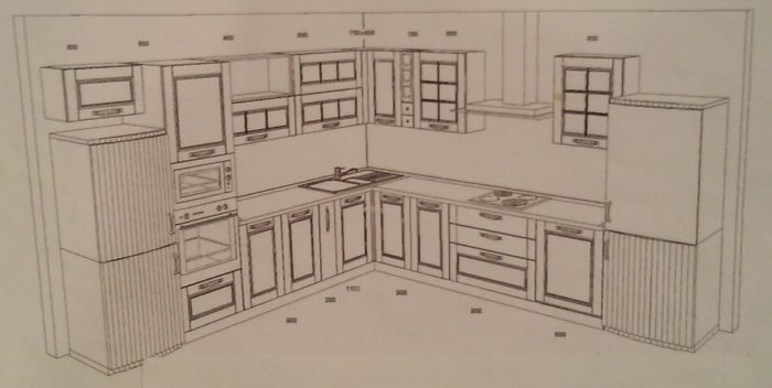 Проект угловой кухни 13 метров