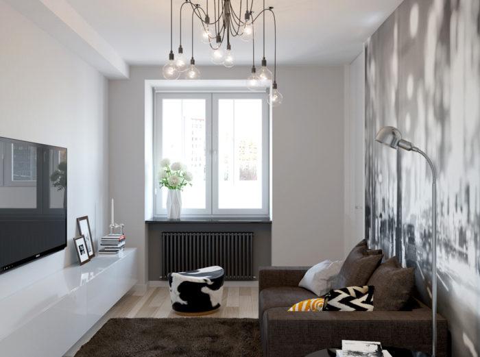 Реальный дизайн маленькой гостиной