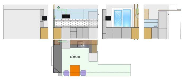 Самостоятельный дизайн проект кухни 8.5 метров