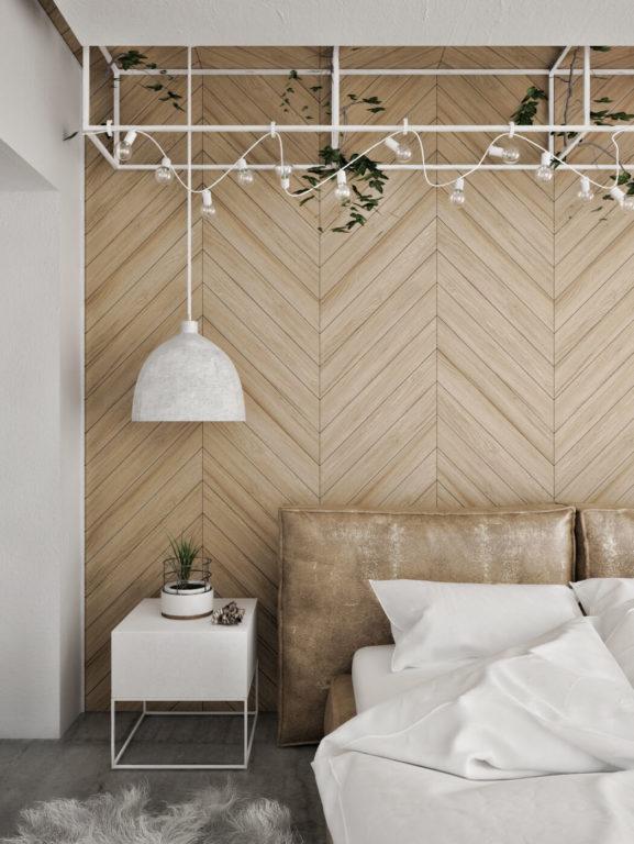 Светильник и гирлянды в спальне