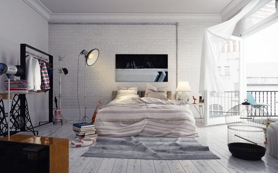 Серая кирпичная кладка в спальне