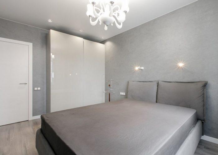 Серый цвет в спальне минимализм