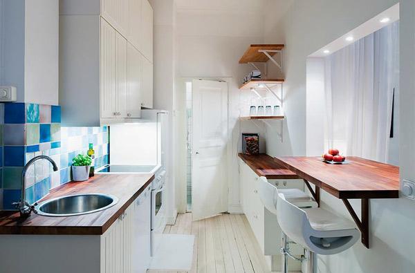 Скандинавский стиль на совмещенной кухне