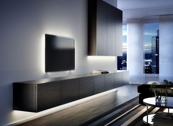 Скрытая подсветка за телевизором и под тумбой