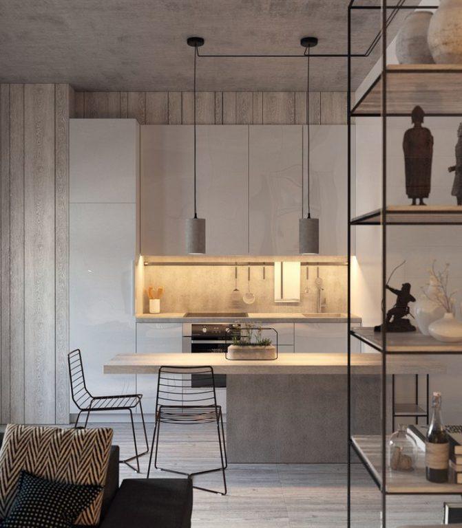 Современный лофт в кухне-гостиной