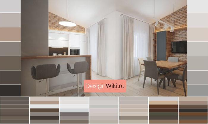 Сочетание древесного и кирпичного цвета в интерьере