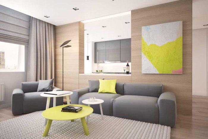 Сочетание желтого и серого в интерьере гостиной