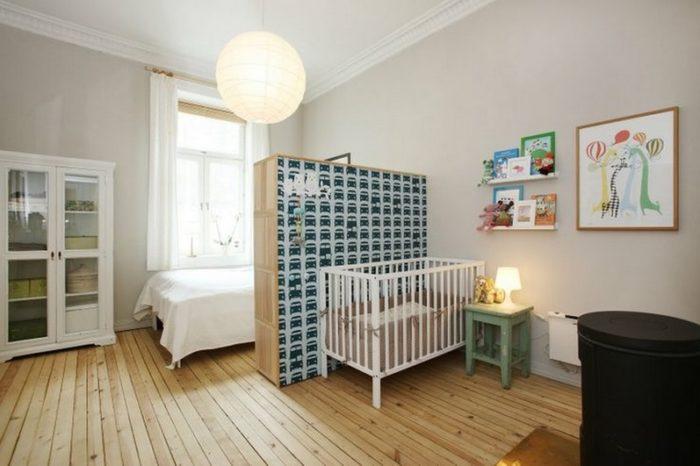 Спальня и детская для ребенка до 2 лет в одной комнате