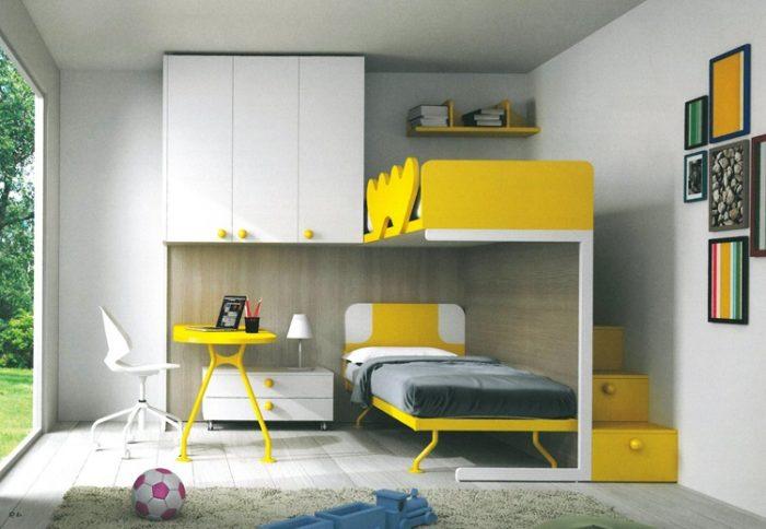 Спальня и комната ребёнка школьника в одной комнате