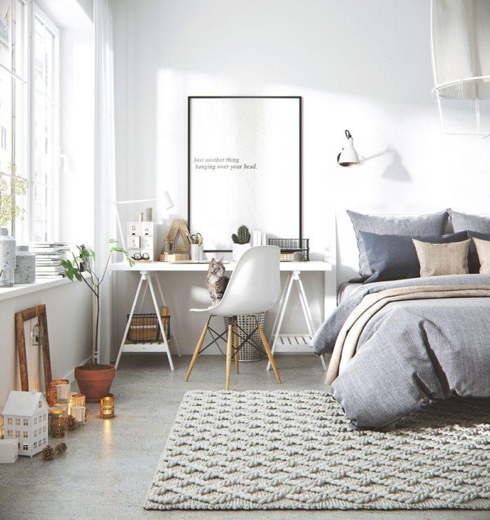 Спальня с наливным бетонным полом