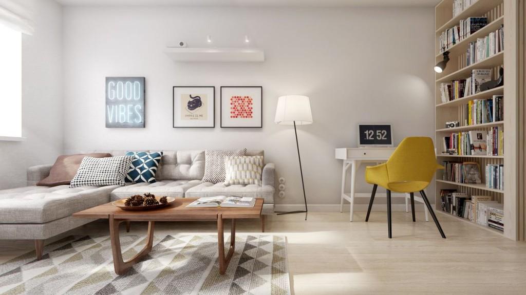 Стильная современная гостиная с угловым диваном