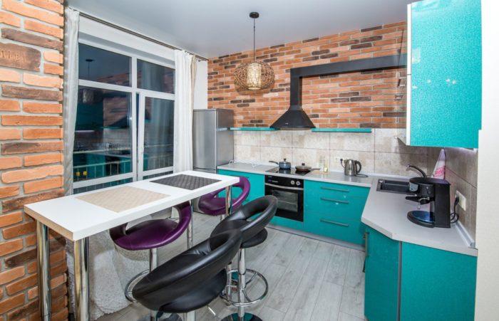 Стиль лофт в кухне-гостиной