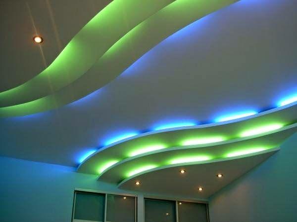 Ступеначатый потолок с подсветкой