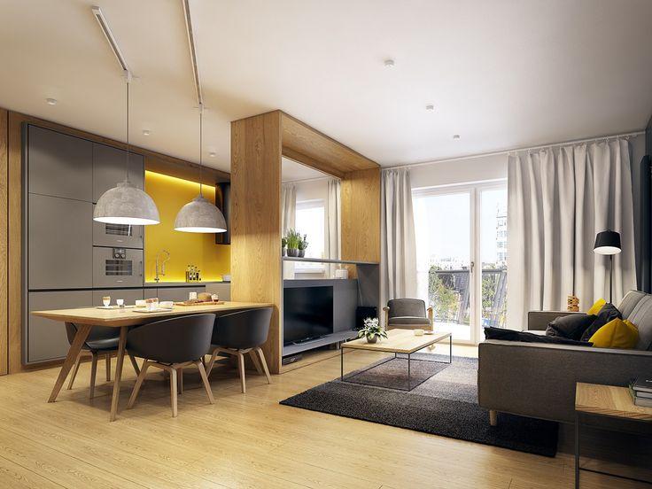 Телевизор на перегородке между гостиной и кухней