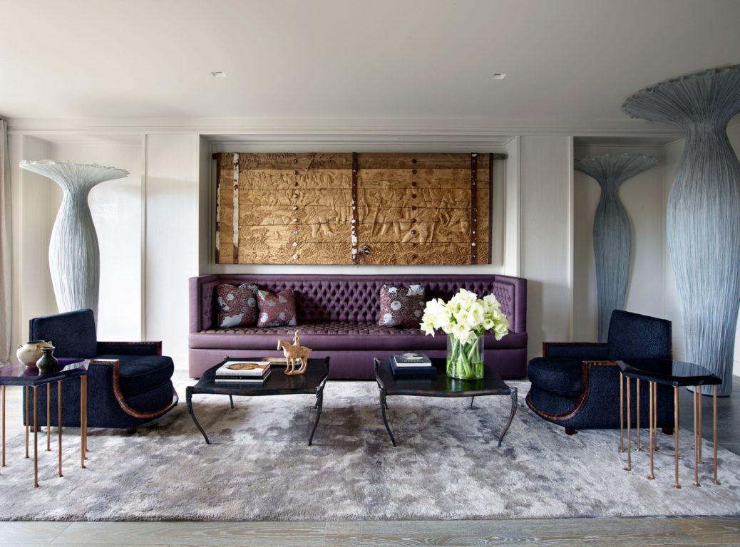 Фиолетовый диван с каретной стяжкой