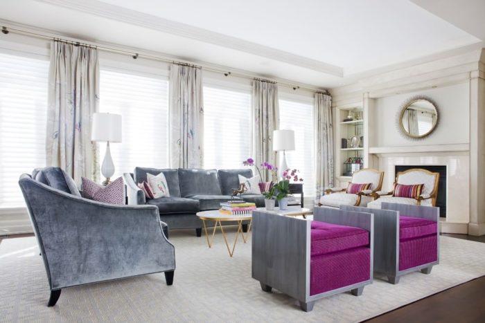 Фиолетовый и серый в Арт-деко гостиной