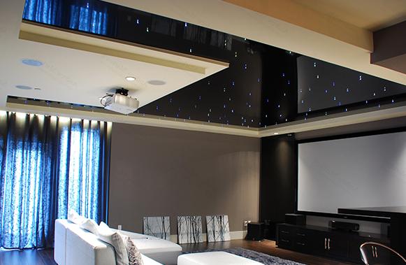 Черный натяжной потолок с подсветкой неба