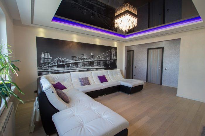 Чёрно-белые фотообои в интерьере квартиры