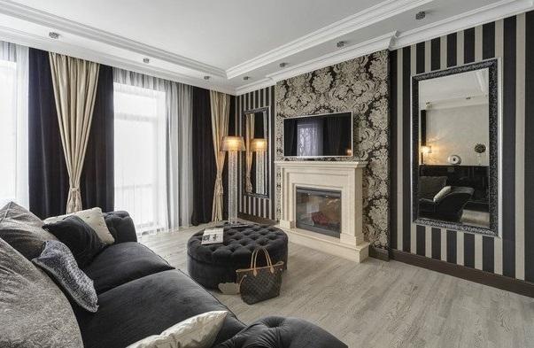 Чёрно-молочная гостиная в стиле Арт-деко