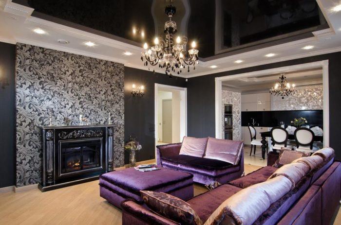 Чёрный потолок в гостиной Арт деко