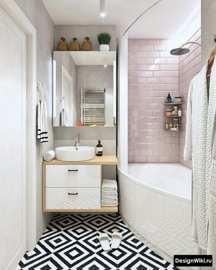 бледно розовый в ванной