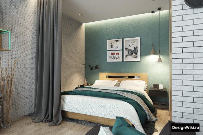 грязно бирюзовая акцентная стена в спальне
